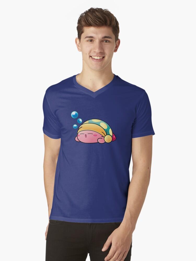 Sleeping Kirby Mens V-Neck T-Shirt Front