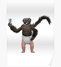 puppy monkey baby poster