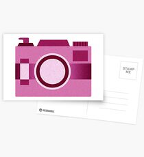 Retro Old-Time Camera, Pink Postcards
