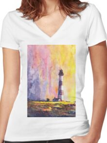 Bodie Island Lighthouse- North Carolina Women's Fitted V-Neck T-Shirt