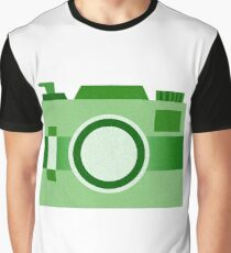 Retro Old-Time Camera, Green Graphic T-Shirt