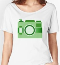Retro Old-Time Camera, Green Women's Relaxed Fit T-Shirt