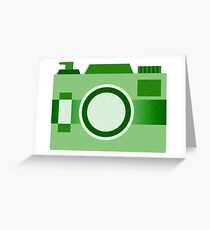 Retro Old-Time Camera, Green Greeting Card