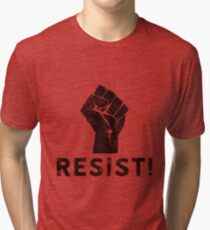 Resist Fist with Exclamation Point Tri-blend T-Shirt
