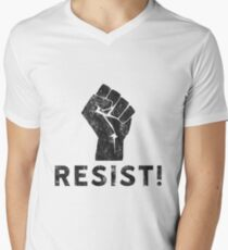 Resist Fist with Exclamation Point Men's V-Neck T-Shirt