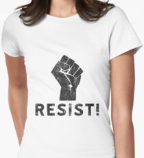 Resist Fist with Exclamation Point Women's Fitted T-Shirt