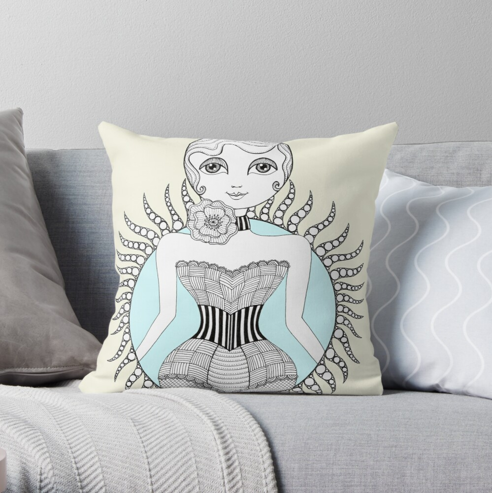 Hulahoop Betty Throw Pillow