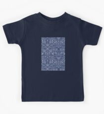 Detailed Floral Pattern in White on Navy Kids Tee
