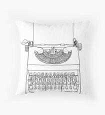 british typewriter with paper  cute line art illustration Throw Pillow