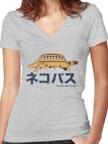 Nekobus retro Women's Fitted V-Neck T-Shirt