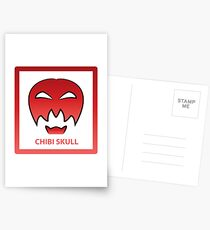 Chibi Skull 4 Red Postcards