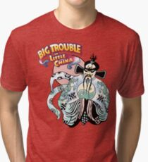 Big Trouble In Little China & Lo Pan HD White Tri-blend T-Shirt
