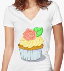 lovely cake with rose Women's Fitted V-Neck T-Shirt