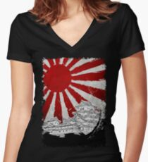 Japanese Palace and Sun Women's Fitted V-Neck T-Shirt