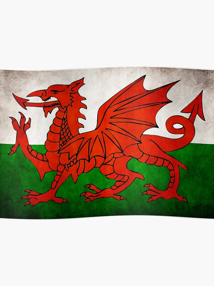 Welsh Wales Flag Distressed Style | Poster