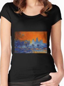 Angkor Wat Sunrise- Watercolor Painting Women's Fitted Scoop T-Shirt