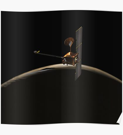 Mars Odyssey-Raumfahrzeug über Mars-Sonnenaufgang. Poster