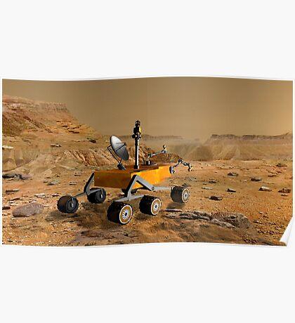Mars Science Laboratory reist in der Nähe einer Schlucht auf dem Mars. Poster