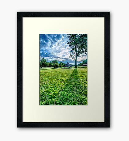 Casting Shadows - Old Barn On Rural Landscape Framed Print