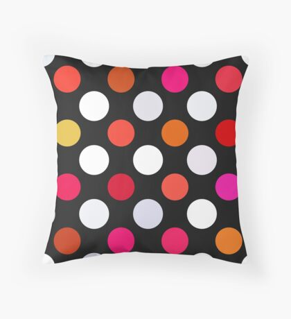 Retro Dots in Shades of Red Throw Pillow