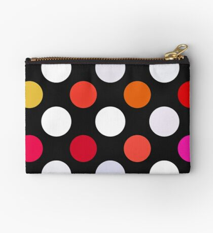 Retro Dots in Shades of Red Zipper Pouch
