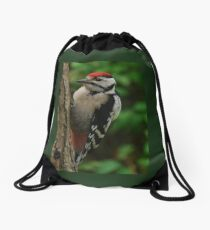 Great spotted woodpecker Drawstring Bag