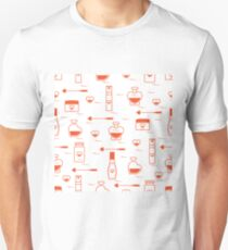 Cute seamless pattern with various accessories for the care of your body and hair: perfume bottles in the shape of a heart, cream, hair spray and other. Unisex T-Shirt