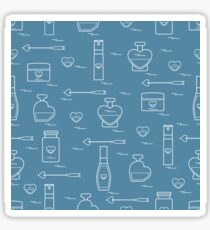 Cute seamless pattern with various accessories for the care of your body and hair: perfume bottles in the shape of a heart, cream, hair spray and other. Sticker