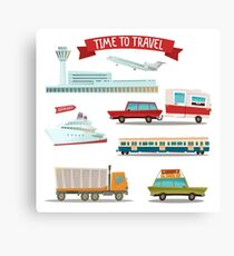 Time to Travel. Set of Transportation - Airplane, Train, Ship, Car, Truck and Van Canvas Print