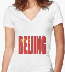 Beijing. Women's Fitted V-Neck T-Shirt