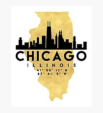 CHICAGO ILLINOIS SILHOUETTE SKYLINE MAP ART Photographic Print