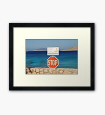 Stop sign at Ftenagia beach, Halki Framed Print