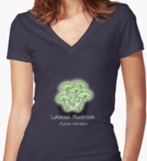 Luminous Mushroom (with smiley face) Women's Fitted V-Neck T-Shirt