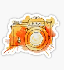 Vintage Nikon Camera - Orange Sticker