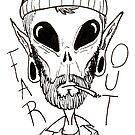 Hipster Alien Far Out Black and White by Kye Smith
