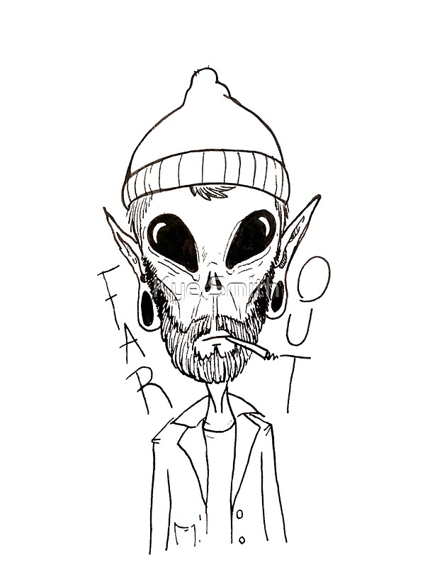 Quot Hipster Alien Far Out Black And White Quot Stickers By Kye
