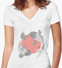 Koi Fish 002 Women's Fitted V-Neck T-Shirt