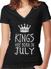 Kings Are Born In July Birthday Gift Shirt Christmas Cute Funny Cancer Leo Zodiac Women's Fitted V-Neck T-Shirt
