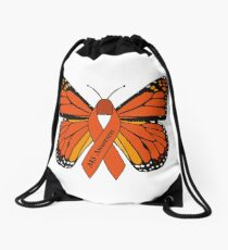 MS Multiple Sclerosis Awareness Butterfly Drawstring Bag