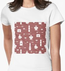 Cute seamless pattern with various accessories for the care of your body and hair: perfume bottles in the shape of a heart, cream, hair spray and other. T-Shirt