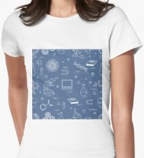Seamless pattern with variety scientific, education elements: globe, microscope,magnet, flask, molecule and other. Women's Fitted T-Shirt