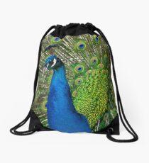 Peacock close up Drawstring Bag