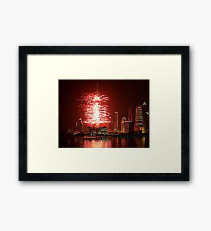 TV Tower Firework Framed Print
