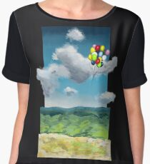 Balloons Over a Sky Chiffon Top