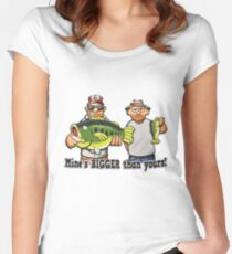 Mine's Bigger Than Yours - Fishing Funny Fishing Shirts For Men Women's Fitted Scoop T-Shirt
