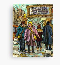 THEATRE MARQUEE MONTREAL WINTER WALK CANADIAN ART Canvas Print