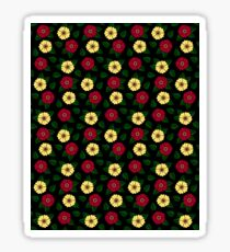 Vintage Retro Flower Pattern Black Sticker