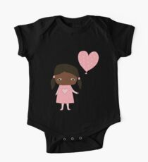 Kawaii girl in pink colors with heart balloon One Piece - Short Sleeve