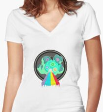 goodbye moonmen Women's Fitted V-Neck T-Shirt