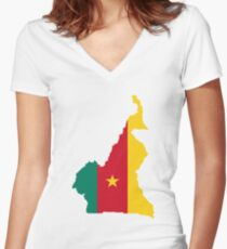 CAMEROUN Women's Fitted V-Neck T-Shirt